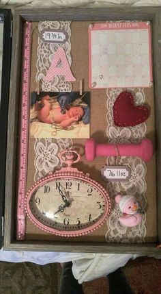 New baby girl nursery organization newborns shadow box Ideas Newborn Shadow Box, Shadow Box Baby, Girl Shadow, My Bebe, Baby Memories, Baby Keepsake, Everything Baby, Baby Time, Baby Crafts