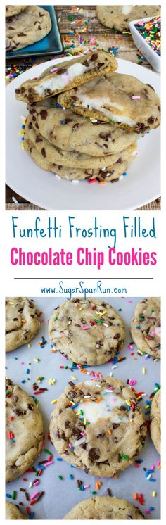 Funfetti frosting filled chocolate chip cookies, might just be the most fun cook. Funfetti frosting filled chocolate chip cookies, might just be the most fun cookies ever! --from SugarSpunRun Cookie Desserts, Just Desserts, Cookie Recipes, Delicious Desserts, Dessert Recipes, Yummy Food, Tasty, Cookie Favors, Party Desserts
