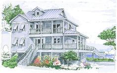 Vaulted Great Room, Wraparound Porches, Large Deck, 2 Story Open Foyer, Lots of Windows with Views to Rear and Sides Beach House Floor Plans, Coastal House Plans, Coastal Homes, Stilt House Plans, House On Stilts, Mansion Plans, Porch Plans, Wraparound Porches, Side Porch