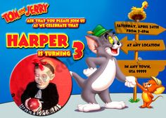 PERSONALIZED Tom And Jerry Birthday Party By PerfectPartyInvites 050