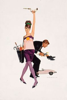 Robert McGinnis, Audrey Hepburn and Peter O'Toole as Nicole Bonnet and Simon Dermott. 1966.    For the movie poster of William Wyler's How to Steal a Million.