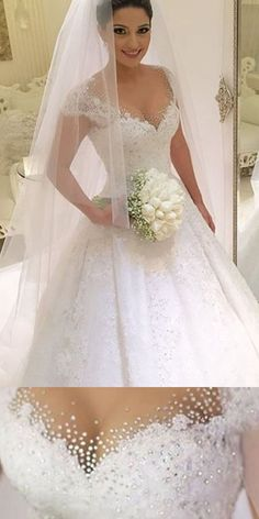 Wedding Dresses Ball Gown, Attractive Tulle Jewel Neckline A-line Wedding Dresses With Beaded Lace Appliques DressilyMe - Love the straps - Wedding Dress Trends, Elegant Wedding Dress, Bridal Wedding Dresses, Dream Wedding Dresses, Tulle Wedding, Wedding Ideas, Magenta Bridesmaid Dresses, Simple Flower Girl Dresses, Ball Gowns