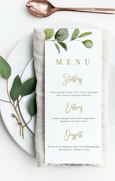 Loving this eucalyptus menu which would be perfect for a tropical themed bridal or baby shower.find more at www. Wedding Menu Template, Wedding Invitation Templates, Wedding Stationary, Wedding Invitations, Diy Wedding Menu Cards, Wedding Signs, Wedding Table, Wedding Foods, Wedding Ideas