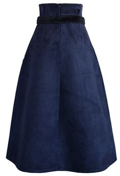Aromatic Faux Suede Full Skirt in Navy - New Arrivals - Retro, Indie and Unique Fashion
