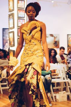 A tailored woman's dress with open neck, long sleeves, sash/belt and flared skirt made out of indigo dyed discharge printed fabric manufactured by Da Gama African Inspired Fashion, African Fashion, African Style, African Traditions, African Women, African Art, Tribal Fashion, Women's Fashion, Ghanaian Fashion