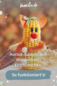 Ruckzuck gebastelt und eine ausgefallene Deko-Idee für den Herbst sind die putzigen Maiskolben-Eichhörnchen. Und die können auch schon kleine Kinder nachbasteln, versprochen! Wir erklären, wie's geht. #herbst #basteln #deko #maiskolben #eichhörnchen #selbermachen #selbstgemacht #diy #familienzeit #deko Maya, Vegetables, Food, Pumpkin Ideas, Funky Junk, Little Children, Essen, Vegetable Recipes, Eten