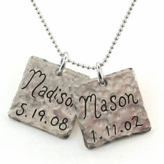 Square Baby Name Charm Necklace with baby's birthdate.  Love the slightly imperfect look of the hammered charm!