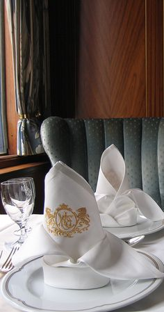 Embroidered Napkin at Dinner on the Orient Express