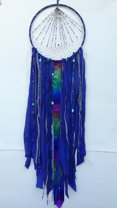 Large Dream Catcher Blue Dreamcatcher with Multi by DreamRaes