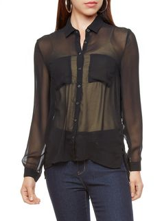 Rainbow Shops Sheer Button Down Shirt with Long Sleeves $7.99