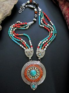 Turquoise Jewelry Stunningly beautiful Tibetan Tribal Necklace of Turquoise Red Coral, Bone, and Silver combined with metal. Contemporary well made Tribal Jewelry handcrafted in Nepal. Ethnic Jewelry, Tibetan Jewelry, Turquoise Jewelry, Boho Jewelry, Beaded Jewelry, Silver Jewelry, Beaded Necklace, Jewelry Design, Tribal Necklace