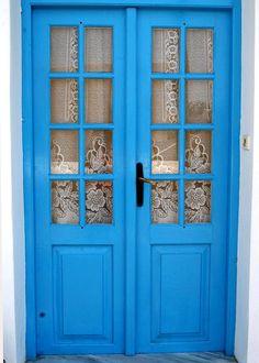 Kythira Knock On Wood, Knock Knock, Beautiful Islands, Doorway, Restoration, Outdoor Decor, Windows, Country, Blue