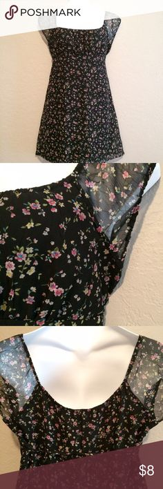 Cute Black Floral Sun Dress Black sundress with sheer sleeves and tie in back. No Boundaries Dresses