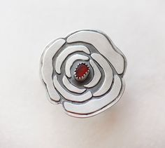 Red Sea Glass Flower Ring/ Rose Ring/ Large Ring by modesteparisienne