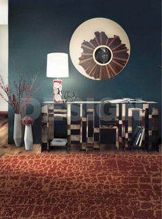 Iris Mirror along with Kyan Console, Himba Rug, and Amik Table Light create a harmonious space.