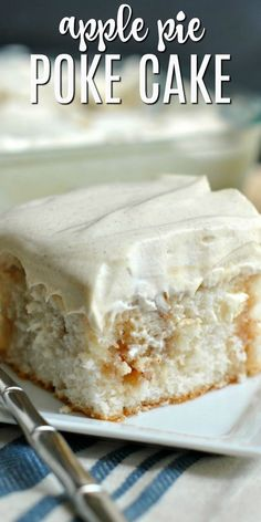 - Easy as apple pie, but the deliciousness of cake. This Apple Pie Poke Cake is th… Easy as apple pie, but the deliciousness of cake. This Apple Pie Poke Cake is the perfect dessert, any time of year Poke Cake Recipes, Cupcake Recipes, Cupcake Cakes, Dessert Recipes, Mini Desserts, Easy Desserts, Best Apple Desserts, Dessert Halloween, Shugary Sweets