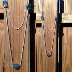 2 layer silver chain necklace with 3 oval blue by TexasMadeJewelry