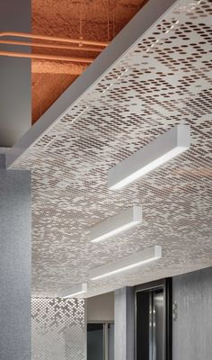 Vapor® ceiling systems offer a variety of patterns generated from simple, repeated elements. Panels are compatible with industry standard grid systems and their scrim-like design allows HVAC, lighting elements and other infrastructure to be shrouded yet fully operational. Optional backing materials can be added—frosted polycarbonate, to transmit light from above, or our Soft Sound® acoustical material, available in a wide range of colors, to reduce sound reverberation. Click image to learn…