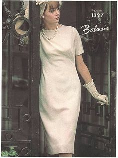 1960s BALMAIN Classy Slim Dress Pattern VOGUE PARIS Original 1327 Flattering Curved Seaming Day or After Five Dress Bust 34 Vintage Couture Sewing Pattern