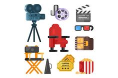 Cinema icons. Ticket Design Templates. $7.00