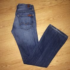7 for all mankind size 27 bootcut jeans Great fit and great condition. Only wear signs is the bottom of one pant leg which is shown in 2nd picture. #7forallmankind27 #7forallmankind 7 for all mankind  Jeans Boot Cut
