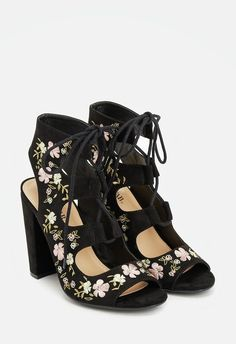 A chic and polished faux suede sandal featuring an open counter, covered heel, and lace up closure....
