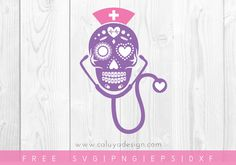 Free nurse sugar skull SVG, PNG, EPS & DXF by Caluya Design. Compatible with Cameo Silhouette, Cricut and other major cutting machines!Perfect for your DIY projects, Giveaway and personalized gift. Silhouette Curio, Silhouette Cameo Projects, Monogram Frame, Monogram Design, Vinyl Crafts, Vinyl Projects, Craft Projects, Nurse Vinyl Decals, Cricut Svg Files Free