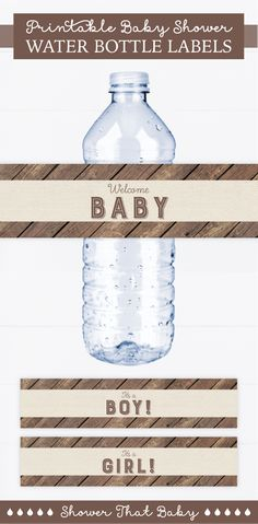Serve celebration-worthy water bottles at your rustic baby shower with these wood and burlap printable water bottle labels. You can find more coordinating decorations, signs, and games at ShowerThatBaby.etsy.com Printable Water Bottle Labels, Printable Labels, Rustic Baby, Rustic Wood, Rustic Water Bottles, Welcome Baby Boys, Document Printing, Nursery Rhymes, Printing Services