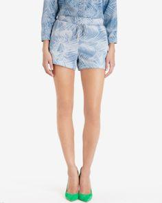 Palm print denim shorts - Baby Blue | Denim | Ted Baker