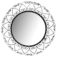 Found it at Wayfair - Round Wrought Iron Wall Mirror in Black $54.99
