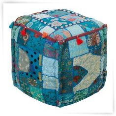 Surya 18 in. Cube Cotton Pouf