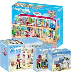 Playmobil Hotel Set Includes: Large Furnished Hotel, Hotel Shop, Porter with Baggage Cart and Housekeeping Service PLAYMOBIL® http://www.amazon.com/dp/B00NPA6FH4/ref=cm_sw_r_pi_dp_d9QCub1Q5QKW0