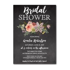 Editable PDF Bridal Shower Invitation DIY - Rustic Chalkboard Watercolor Flowers - Instant Download Printable- Edit in Adobe Reader