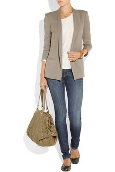 stella mccartney - shawl collar anything. Casual Blazer, Gray Blazer, Friday Outfit, Bowling Bags, Blazer Fashion, Chic Outfits, Daily Fashion, Passion For Fashion, Autumn Winter Fashion