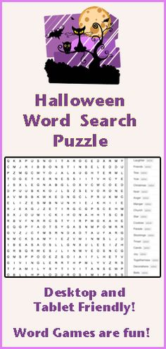 Find all the Halloween words hidden in this online word search puzzle. Words appear horizontally, vertically, diagonally, and backwards. This word game is fun for kids of all ages. We have word search puzzles on a variety of subjects. Word games are fun at Squigly's Playhouse!