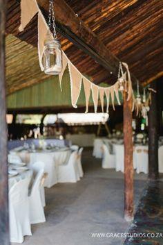 Wedding Decor  #hessian #tables #Www.Inzimpala.co.za Www.gracestudios.co.za