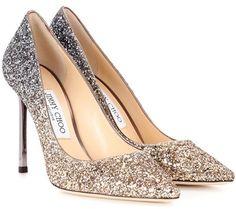 Jimmy Choo Exclusive to Mytheresa – Romy 100 glitter pumps Gold Glitter Pumps, Metallic Gold Shoes, Gold Pumps, Silver Shoes, Jimmy Choo Romy, Jimmy Choo Shoes, High Heel Pumps, Stiletto Heels, Pumps Heels