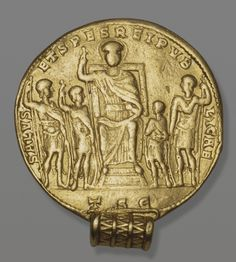 Medallion. Country, issuer: Ancient Rome. Constantine I (306-337). Date: 315-337s. Place of manufacture: Thessaloniki. Material: gold. Technique: chased.