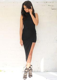 High Neck Asymmetric Slinky Ruche Dress in Black