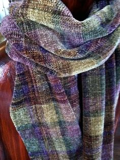 Hand woven chenille scarf  Multicolor plaid by FitchStudioWeavers, $150.00