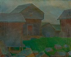 Veikko Vionoja: Pihanäkymä, 1960, öljy, 80x98 cm - Bukowskis