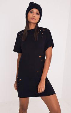 Miyah Black Distressed T-Shirt Dress