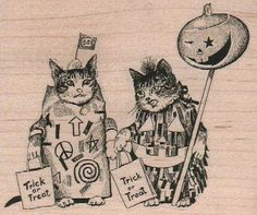 Two cats trick or treat Halloween Rubber stamp. wood mounted stamp   Quantity : one stamp-you will receive the one in the first picture only.