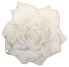 WD2U 3 in 1 Large Sequin Rose Flower Hair Bow Clip Brooch Pony White 1148 -- To view further for this item, visit the image link.