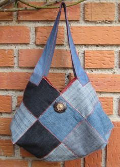 Como hacer un bolso con tela de vaqueros viejos  New bag with an old jeans DIY