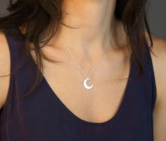 Crescent Moon Necklace in Sterling Silver 14k by LayeredAndLong
