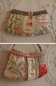 Ideas for making small patchwork handbags - great way to use up fabric scraps! :)l mexican traditional vintage folk style bags inspired by frida kahlo Patchwork Bags, Quilted Bag, Fabric Bags, Fabric Scraps, Handmade Purses, Beautiful Bags, Refashion, Ideias Fashion, Purses And Bags