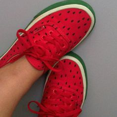 watermelony ♥  I want to make these and wear them to work !! LOVE THEM !!!   And I have red shoes too !!!