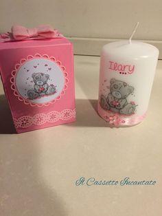 candela bambina battesimo rosa ilary fiorellino nastrino