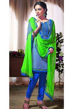 cotton blue salwar kameez
